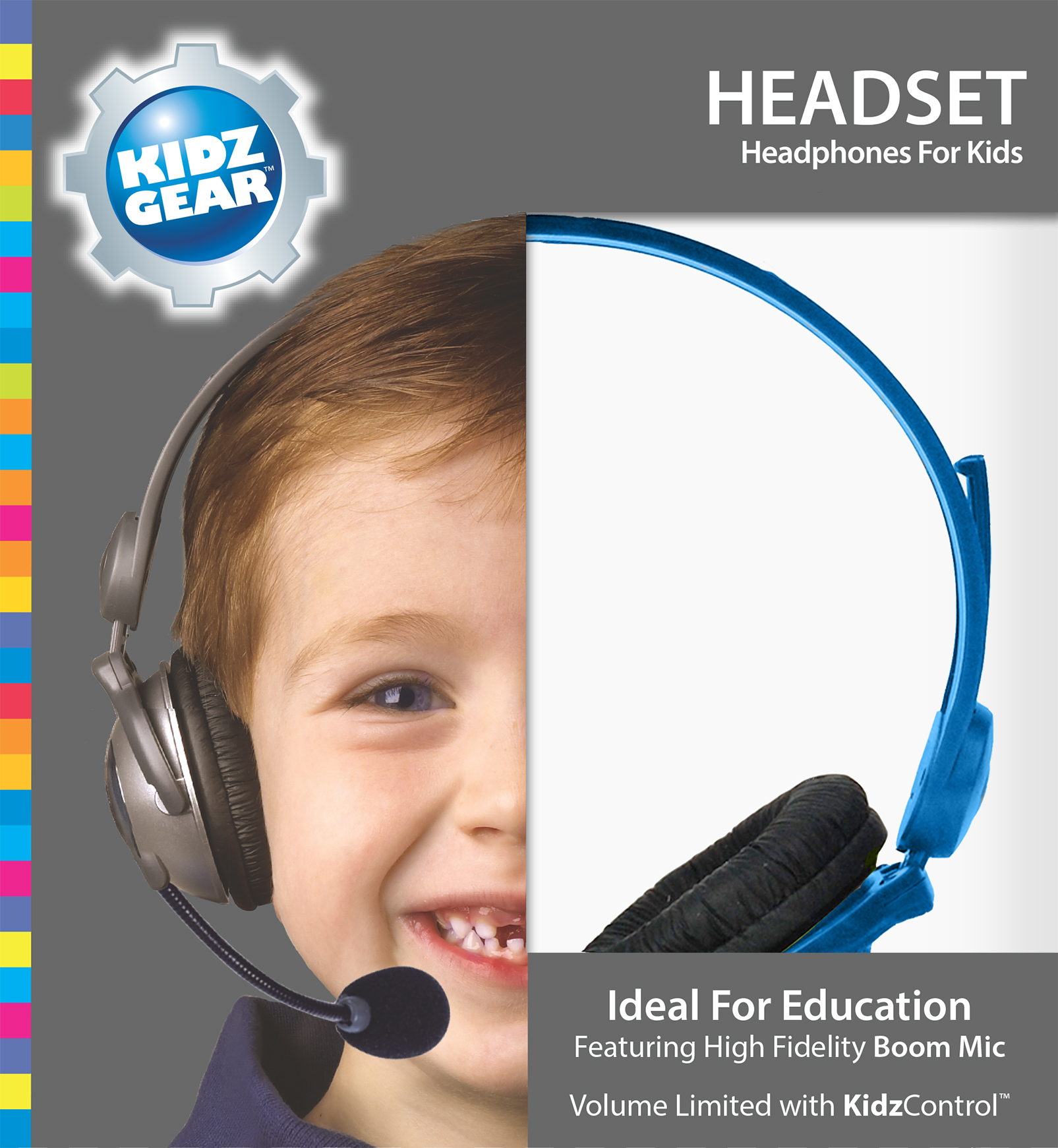 Kidz Gear Deluxe Stereo Headset Headphones with Boom Microphone - Box Blue