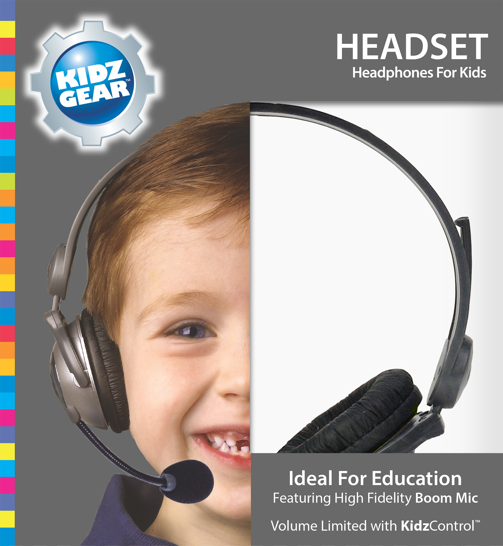 Kidz Gear Deluxe Stereo Headset Headphones with Boom Microphone - Box Grey