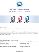Kidz Gear Deluxe Stereo Headset Headphones with Boom Microphone Brochure