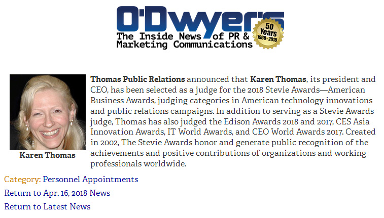 O�Dwyer�s: PERSONAL APPOINTMENTS - Karen Thomas, President of Thomas PR, Selected as Judge for 2018 Stevie Awards � April 16, 2018