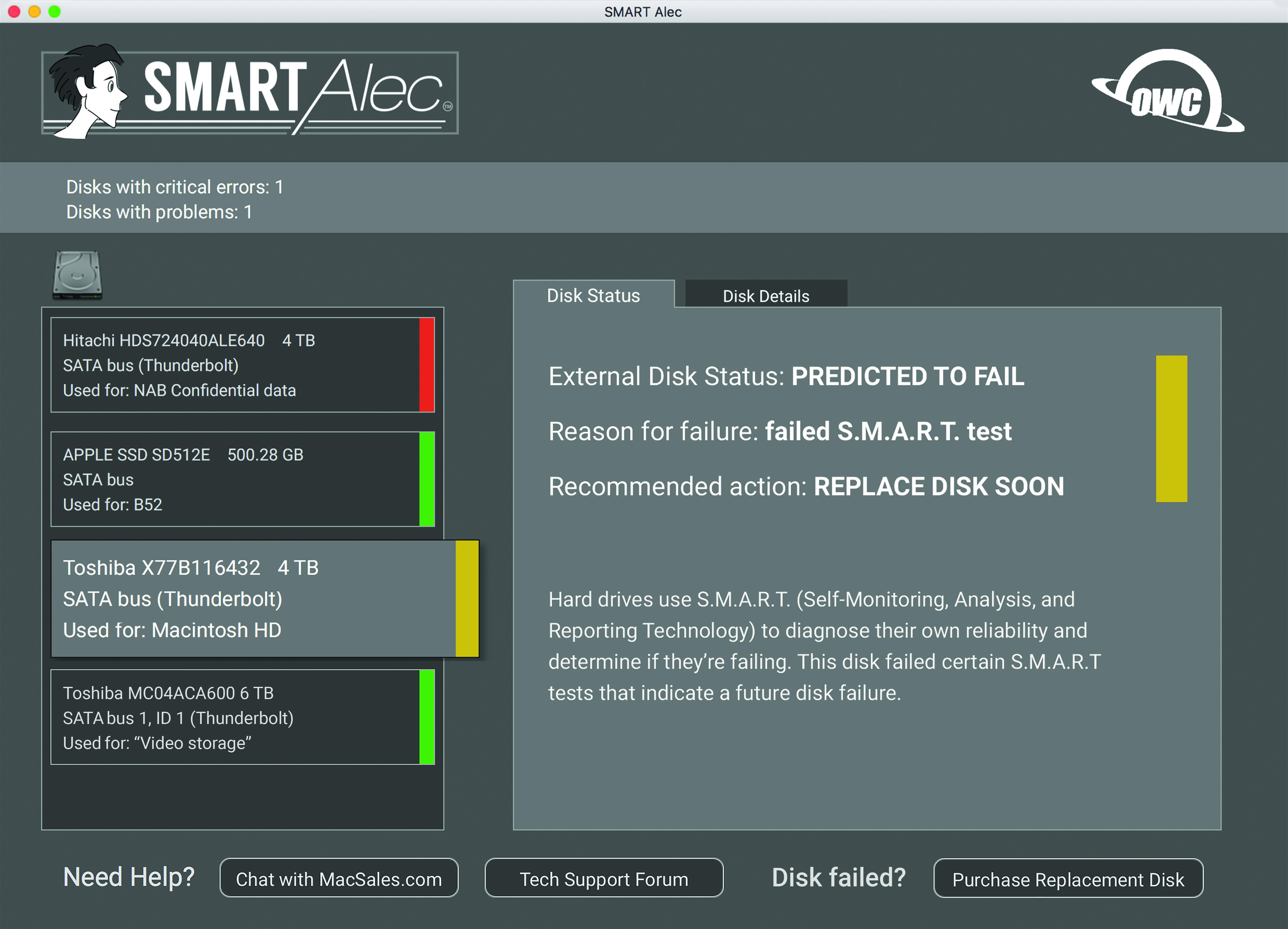 SMART Alec Screen Shot - Drive Predicted to Fail