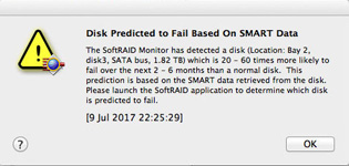 SoftRAID - Disk Predicted to Fail Based on SMART Data