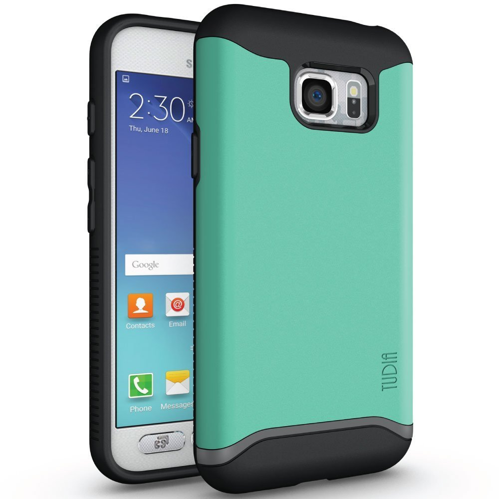 TUDIA MERGE Bumper Protective Case for Samsung Galaxy S7 Active - mint front back