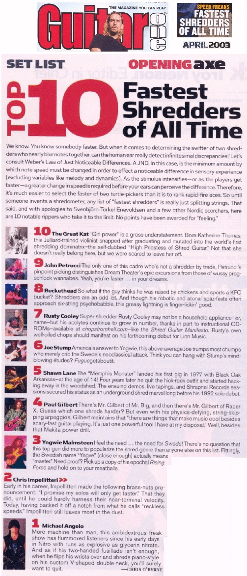 """The Great Kat Named """"Top 10 Fastest Shredders Of All Time""""  By Guitar One Magazine"""