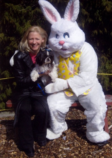 "Karen Thomas, President Thomas Public Relations with  ""Fluffy"" (Thomas PR mascot) & Easter Bunny at Little Shelter's Easter Eggstravaganza, Huntington, NY. Click to Help Little Shelter Win ""Best Shelter"" 2008 for a Makeover for Rescued Animal Medical Center by Registering at Zootoo.com at:http://www.littleshelter.com/homepagestories/zootoo/zootoo.htm. (Please Choose zip code 11743 and ""Little Shelter"") (Contest Ends March 31, 2008)"