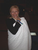 Karen Thomas, Thomas PR wrapped in blanket at outdoor Resident Evil Party at Planet Hollywood Hotel Pool