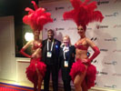 Karen Thomas, Thomas and Zennie Abraham, Zennie62.com at Encore with Las Vegas showgirls (photo by Zennie Abraham)