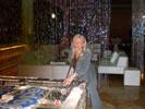 Karen Thomas, Thomas PR Playing Pool on the Ice Pool Table at the Skype Party