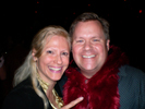 Karen Thomas, Thomas PR and Tom Randklev, inComm with Bear costume at Nexon Party, Colony Club in Hollywood