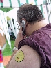 Irwin Krasnow on Cell Phone with Happy Face