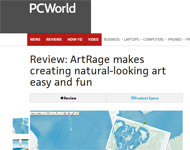 """PC World Review of ArtRage - 4 out of 5 Stars! """"ArtRage makes creating natural-looking art easy and fun"""" by Erez Zukerman"""