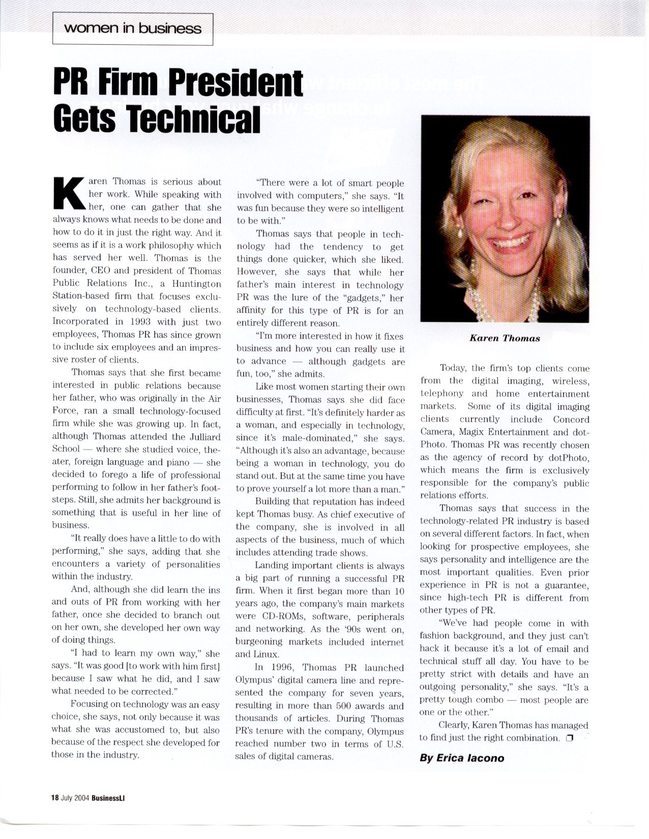 "Karen Thomas, Thomas PR ""Women in Business - PR Firm President Gets Technical"" in Business LI Magazine July 2004"