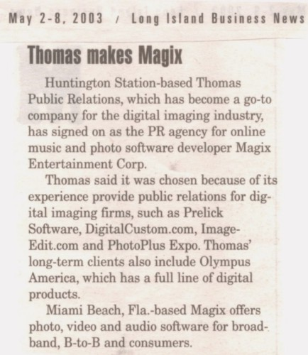 """Thomas makes Magix"" in Long Island Business News"