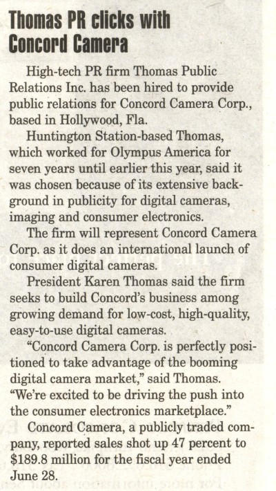 """Thomas PR clicks with Concord Camera"" in Long Island Business News"