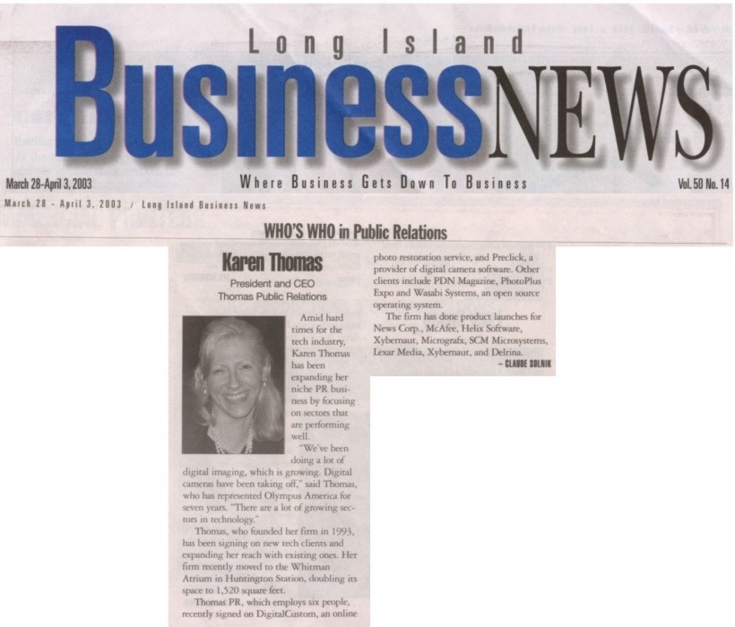 """Who's Who in Public Relations"" in Long Island Business News"