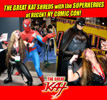 Thomas PR Client THE GREAT KAT SHREDS with the SUPERHEROES at RECENT NY COMIC CON!