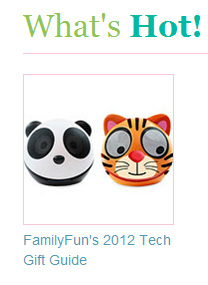 FamilyFun Magazine on Zoo Tunes Animal Themed Speakers - 2012 Tech Gift Guide - What's Hot!