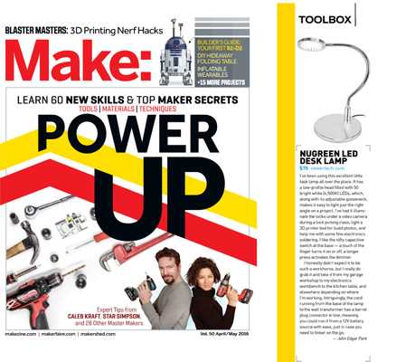 "Make: Magazine on Thomas Public Relations Client NewerTech LED Lamp by John Park ""I've been using this excellent little task lamp all over the place."""