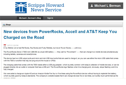 Scripps Howard Syndicated Column on Powerocks Stone3 Portable Power Bank by Michael Berman