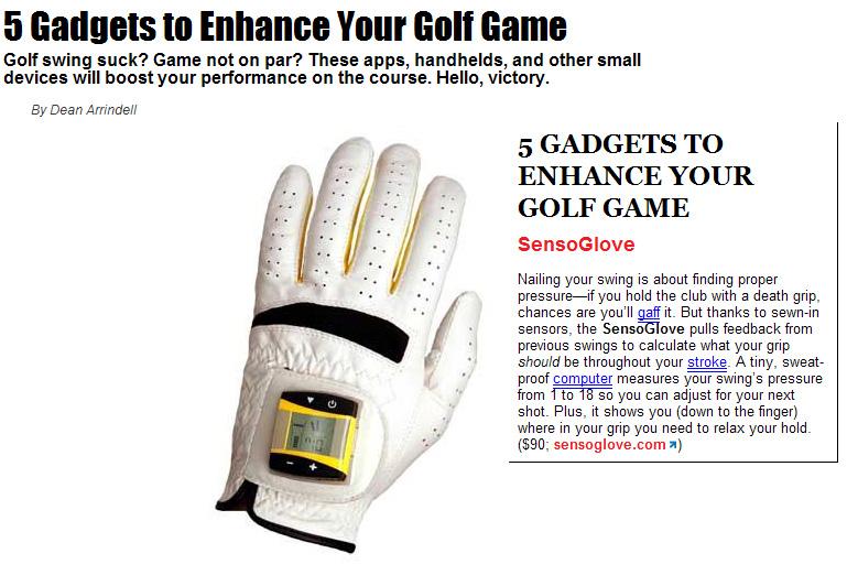 "Men's Fitness on SensoGlove Digital Golf Glove! ""Gadgets to Enhance Your Golf Game"""