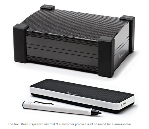 "NY Times on Soundmatters foxL DASH7 ""The foxL Dash 7 speaker and foxLO subwoofer produce a lot of sound for a mini-system."" – Roy Furchgott, NY Times."
