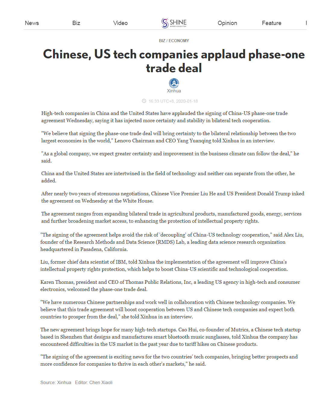 """New! Shanghai Daily/ Xinhua News Agency Article - Chinese, US tech companies applaud phase-one trade deal: """"Karen Thomas, president and CEO of Thomas Public Relations, Inc, a leading US agency in high-tech and consumer electronics, welcomed the phase-one trade deal. 'We have numerous Chinese partnerships and work well in collaboration with Chinese technology companies. We believe that this trade agreement will boost cooperation between US and Chinese tech companies and expect both countries to prosper from the deal,' she told Xinhua in an interview."""" https://www.shine.cn/biz/economy/2001180084/"""