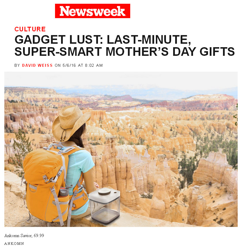 "Thomas PR Client Ankomn Savior in Newsweek.com ""Gadget Lust: Last-Minute, Super-Smart Mother's Day Gifts"" by David Weiss"