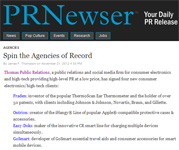 "MediaBistro�s PRnewser.com on Thomas PR ""Spin the Agencies of Record"" by James F. Thompson!"
